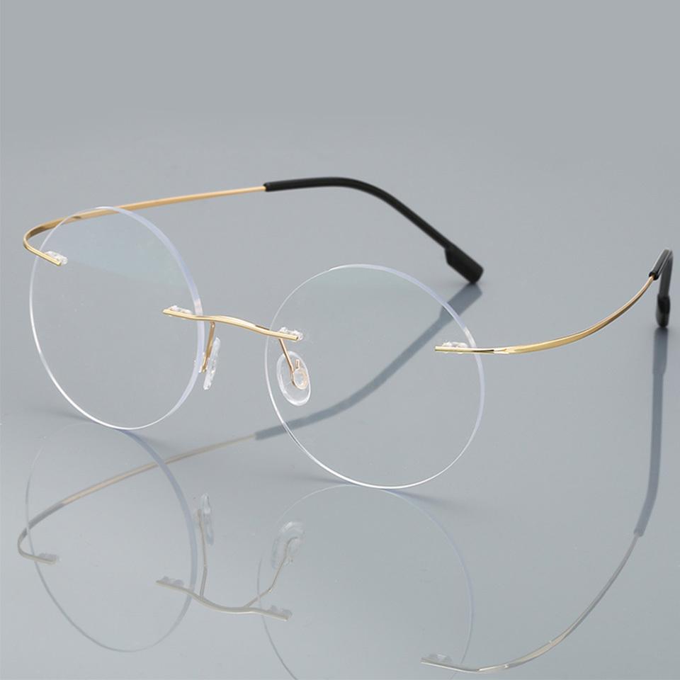 Anti-blue Ray Rimless Reading Glasses Men Women Round Titanium Alloy Frame Prescription Presbyopia Eyeglasses +1.50+2.00+2.50