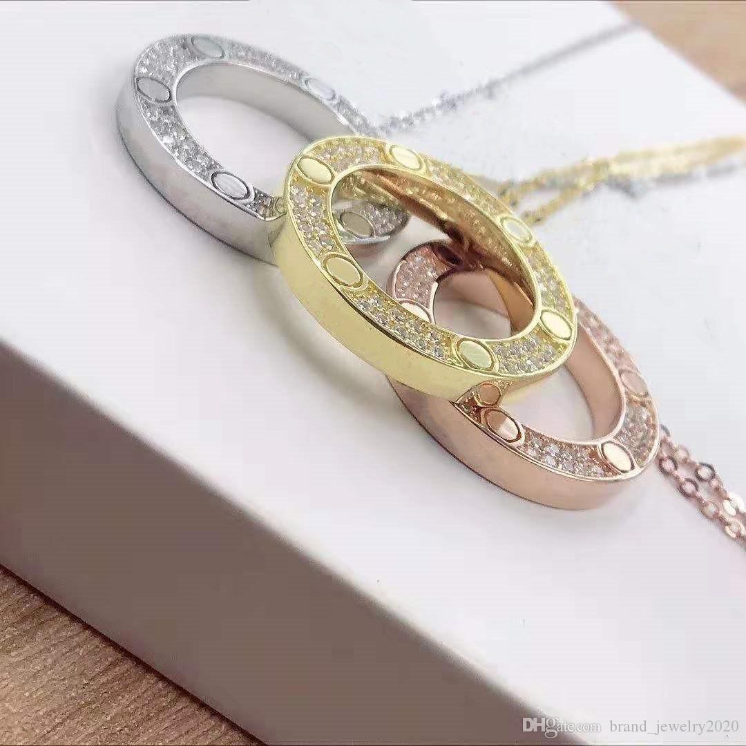 full cz stainless steel love necklaces & pendants fashion choker necklace women men Lover neckalce jewelry gift with velvet bag