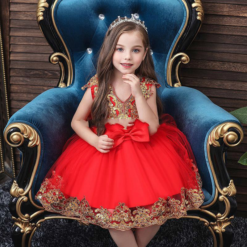 Princess Dress Flower Girl Pettiskirt Kids Christmas Show Costume Tulle Flower Pageant Birthday Party Wedding Bridesmaid for 0-11 Years Old