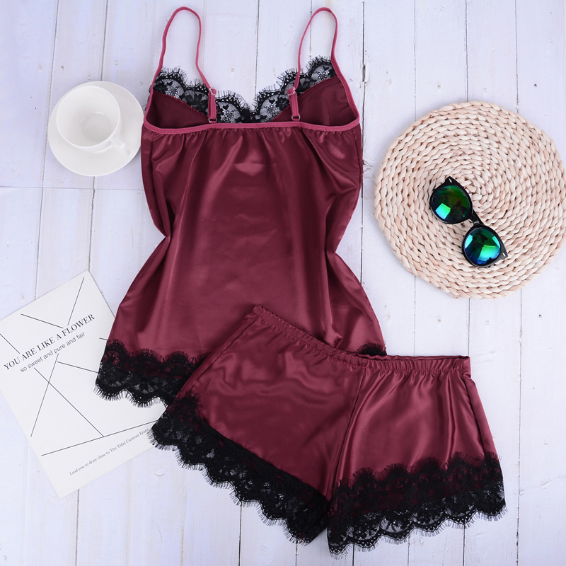 2Pieces/Lot Women Sleepwear Set Lingerie Night Short Sleeveless Ladies Satin Nightgown Through La Sleepwear Separate Lace Sleepwear