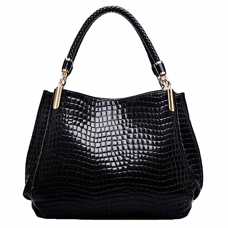 Women Crocodile Pattern Handbag PU Leather Large Shoulder Bag Black Female Hobos Bag Alligator Handbag Messenger Bags