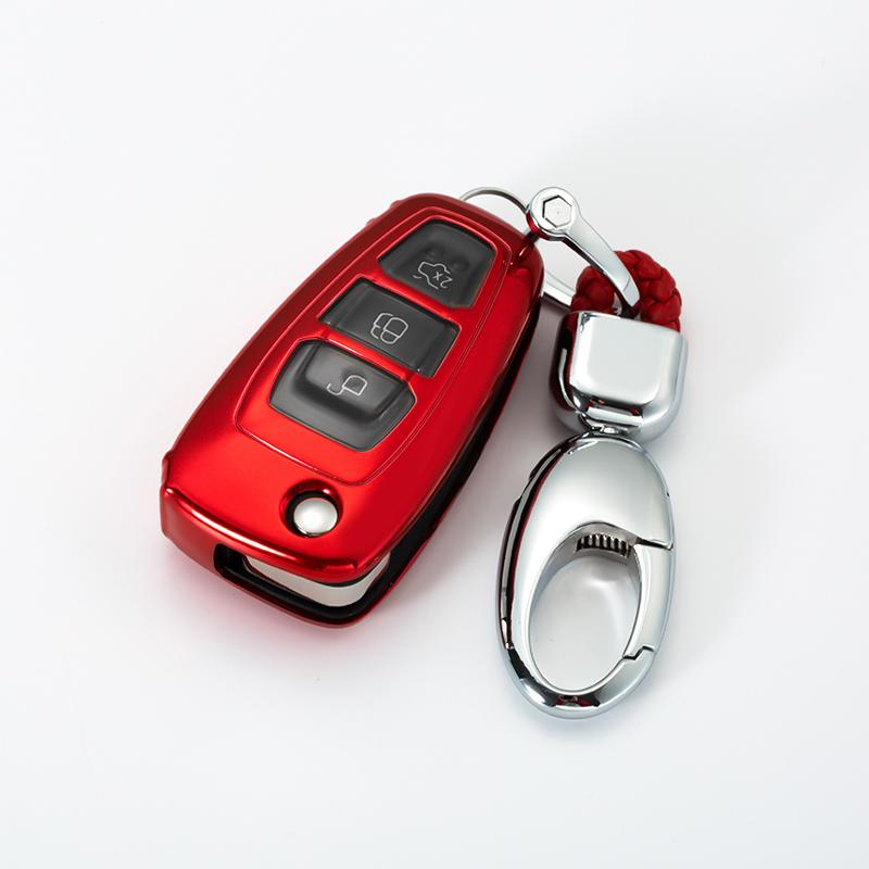 Heavy Duty Car Key Fob Ring for Ford Focus Fusion Mustang Explorer Ecosport Escape F-150 AOOOOP Interior Accessories for Ford Car Key Chain Black