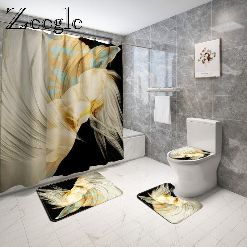 Abstract White Horse Bath Mat and Shower Curtain Set Microfiber Bathroom Floor Rug Absorbent Bath Carpet Shower Foot Mat