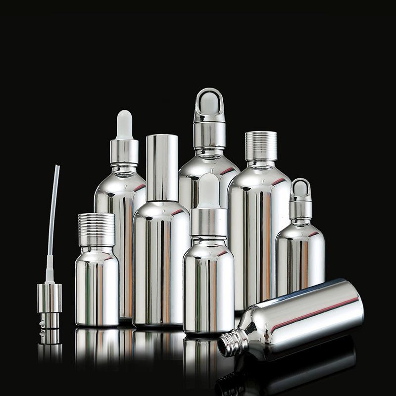 silver glass bottles