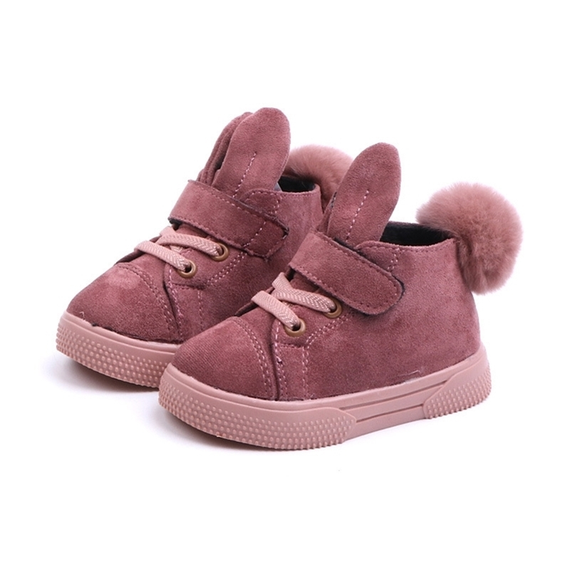 Size 21-30 Baby Shoes for Boy Girl Toddler Non-slip Kids Leather Sneakers Pompom