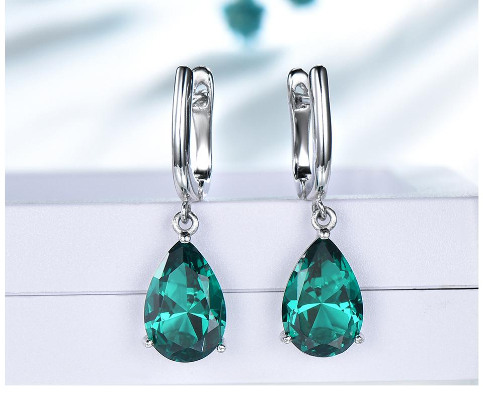 UMCHO Emerald 925 sterling silver earring for women EUJ094E-1-pc (5)
