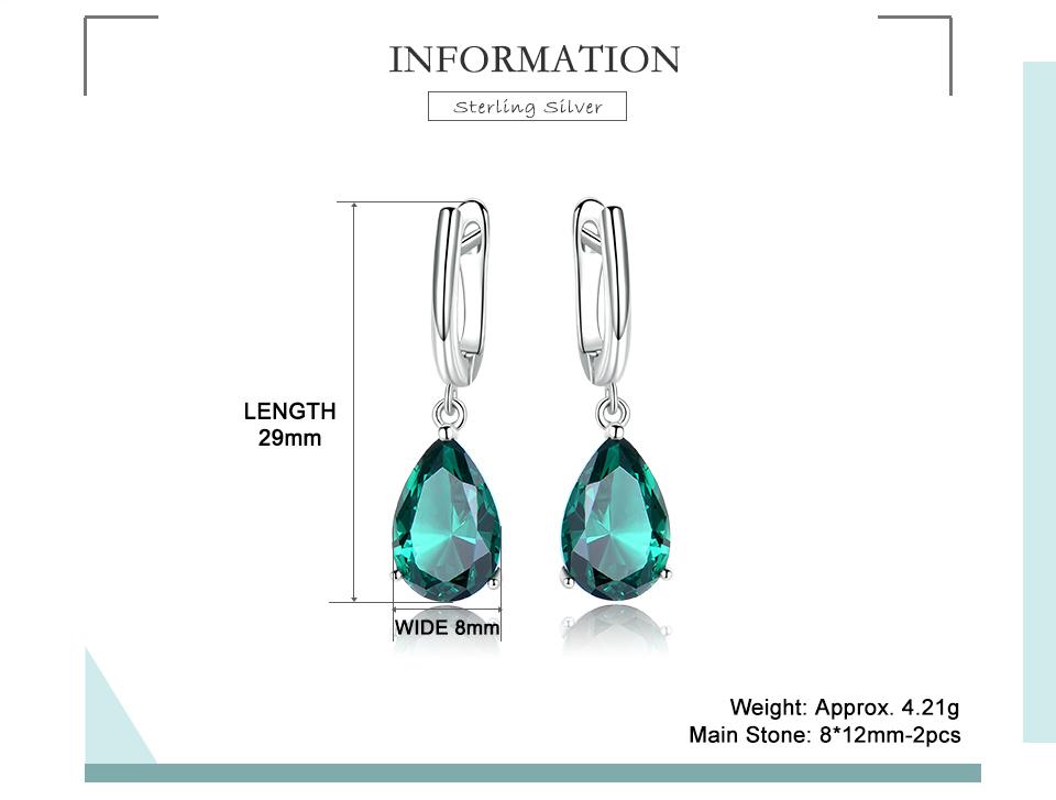 UMCHO Emerald 925 sterling silver earring for women EUJ094E-1-pc (2)