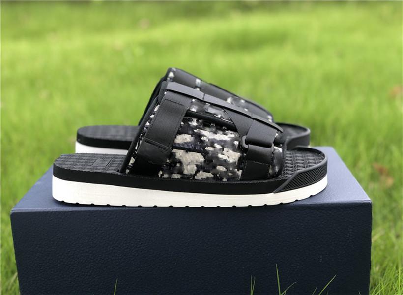 2020 New Fashion Men BLACK ALPHA SANDAL IN OBLIQUE JACQUARD summer Men slippers nylon bands comfortable rubber sole scuffs EUR size 39-45