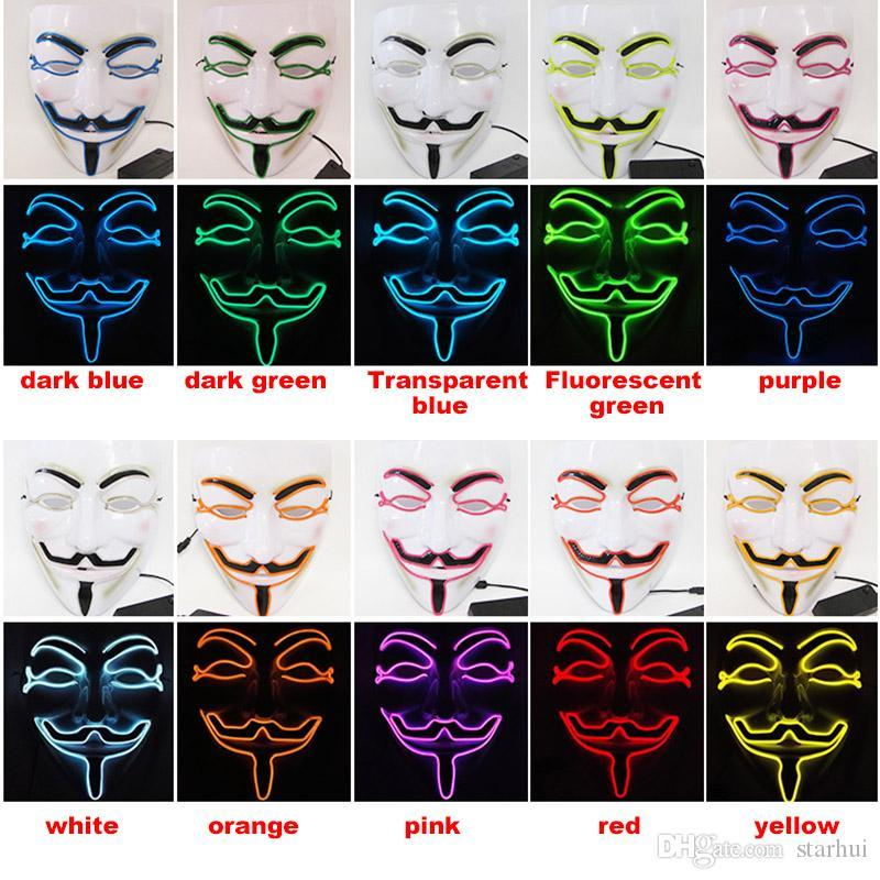 LED Halloween Masks V Word Hatred Mask EL Wire Glowing Mask Masquerade Full Face Masks Halloween Costumes Party Gift WX9-58