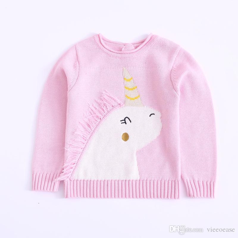 Vieeoease Boys Girls Sweater Christmas Unicorn Kids Pullover Autumn Fashion Classic Knitting Long Sleeve Sweater EE-1410