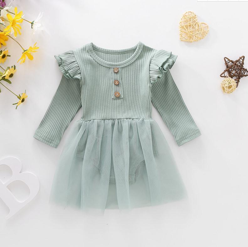 Kids Clothes Girls Solid Yarn Dress Romper Infant Toddler Long Sleeve Jumpsuit 2021 Spring Newborn Baby Climbing Pit Knitted Clothing DB227
