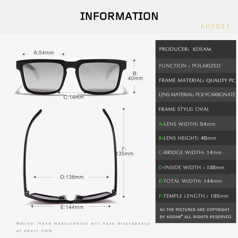 Polarized Sunglasses Men 2019 KDEAM Square Printed Leg Men Glass Classic Design Male Sport Mirror Sunglass 2501