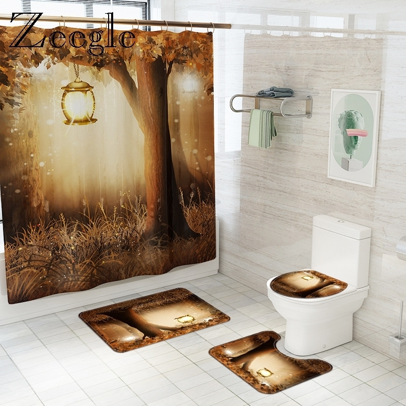 Pastoral Scenic Bath Mat and Waterproof Shower Curtain Set Flannel Bathroom Floor Carpet Bathroom Rug Shower Room Foot Mat