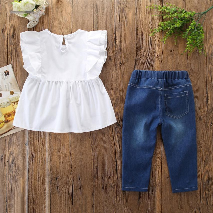 Toddler Kid Baby Girl Clothes Solid Cotton Linen Off Shoulder Sleeve Top Shirt Denim Ripped Pants With Pearl Outfit 3-8Y