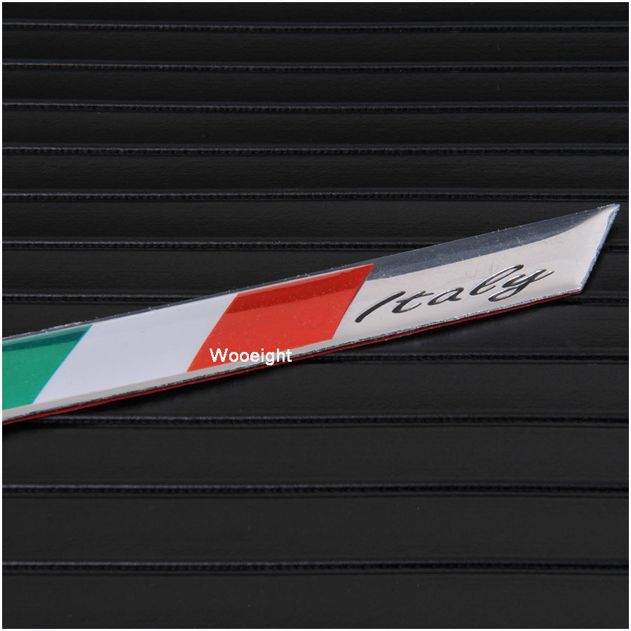 1Pc 3D Aluminum Italy Emblem Badge Flag Car Stickers Fender Trunk Decoration For Audi BMW VW Alfa Romeo FIAT Honda Benz (3)