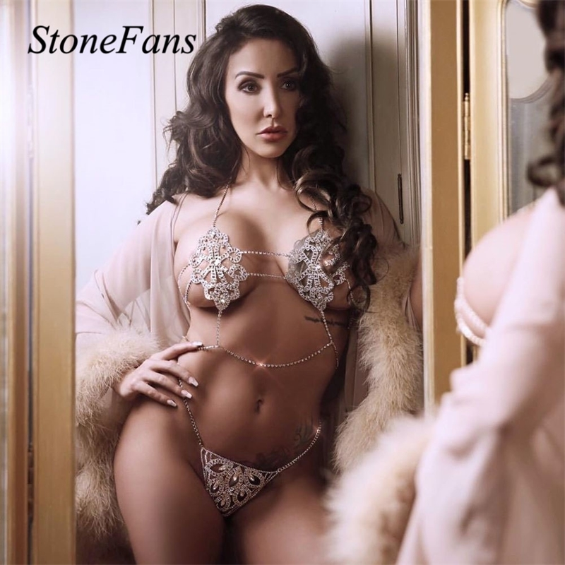 Stonefans Sexy Underwear Bra Set Rhinestone Body Chain for Women Charm Flower Shape Bra and Thong Set Crystal Lingerie Party T200508