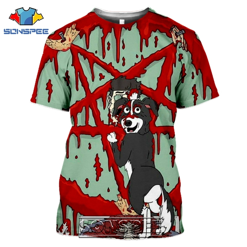 SONSPEE 3D Print Mr Pickles T-shirts Men Women Casual Harajuku Short Sleeve Streetwear Hip Hop Anime Satan Evil Tees Tops Shirt (12)