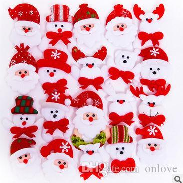 Led Christmas Brooch Badge Decorations For Santa Claus Snowman Deer Bear Glow Flashing Brooch Plush Toys Gift XD21072