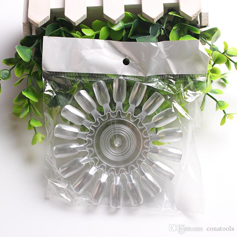 /Bag 18 Round Wheel White Transparent False Practice Nail Showing Shelf Nail Tips Palette Art Display Chart Arcylic Polish Board Design