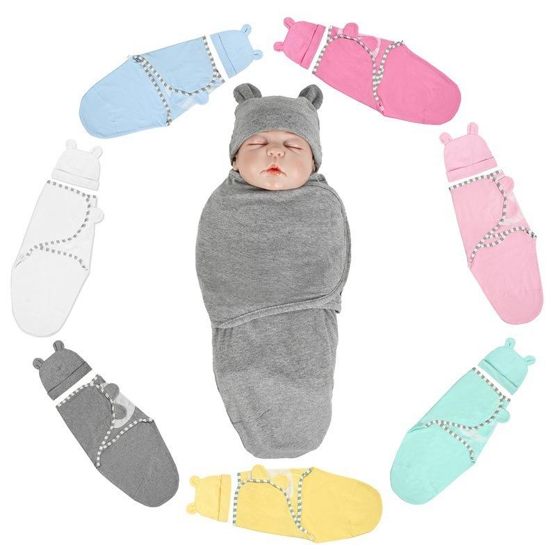 2pcs-set-0-3-Months-Newborn-Wrapping-Swaddle-Anti-shock-Baby-Wrap-Blanket-Baby-Hat-Sleeping