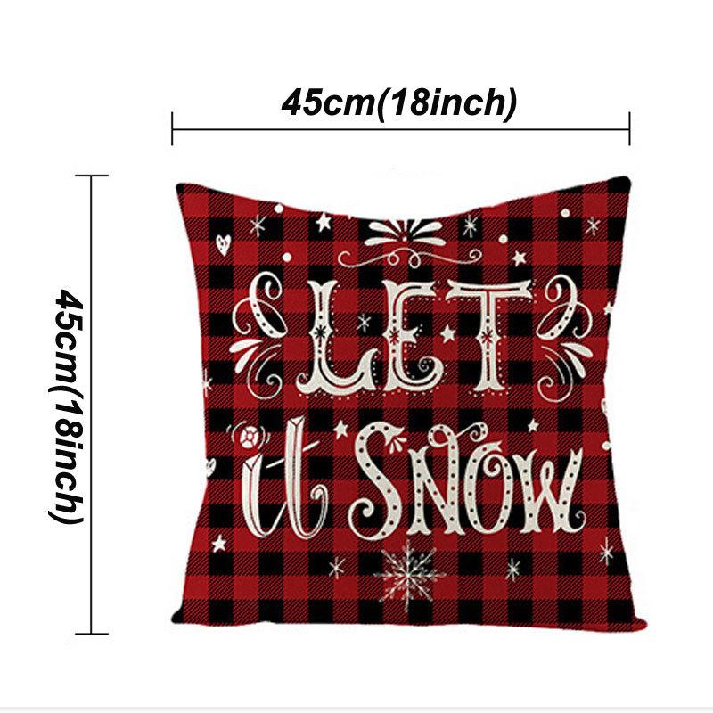 18 Inch Christmas Pillowcase Plaid Printed Linen Decor Throw Cushion Cover Home Sofa Decorative Pillow Case VTKY2024