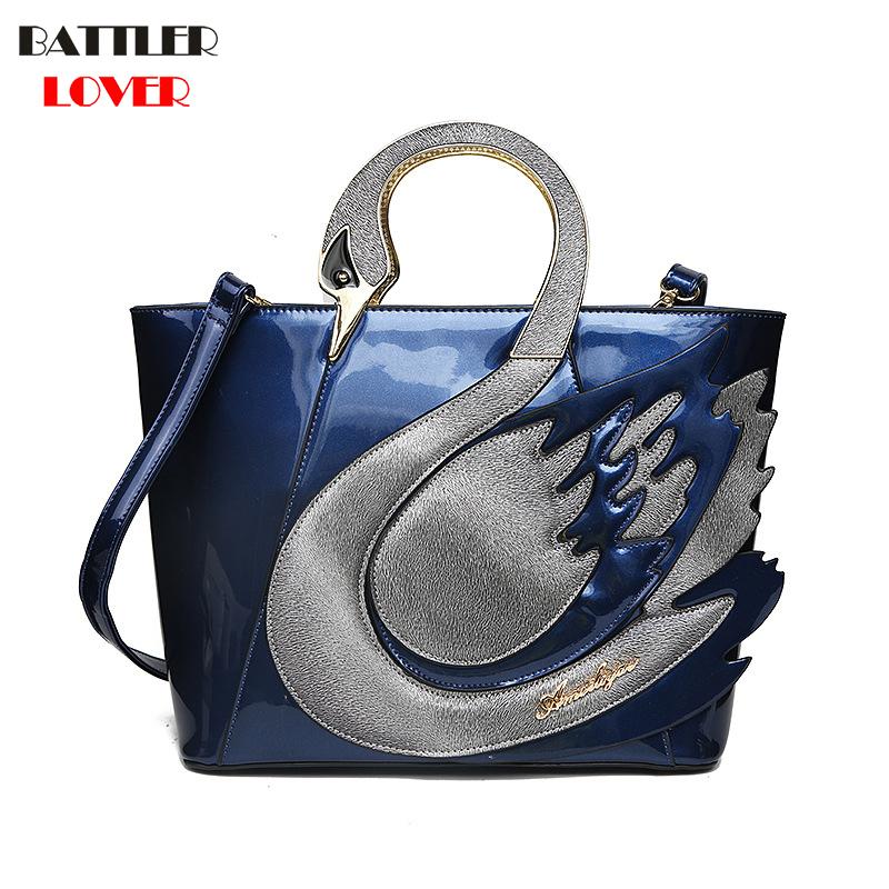 Swan Women Patent Leather Handbags Large Capacity Shopping Bag Fashion Totes Shoulder Bag Women Femme Mujer Bolsa Feminina