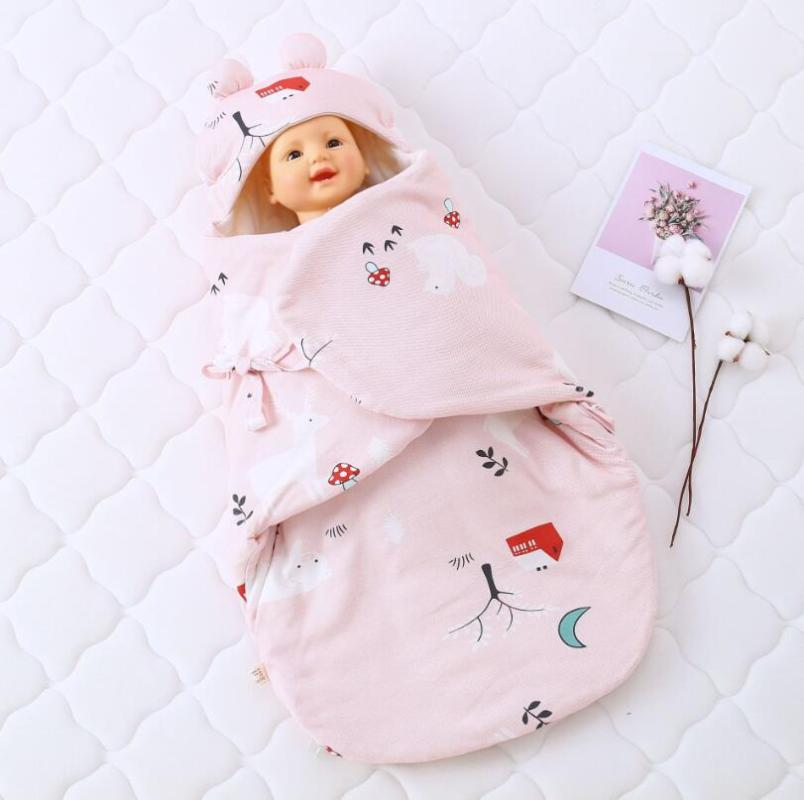 Thicken  Winter Baby Quilt Muslin Wrap Stroller Blanket Infant Swaddle