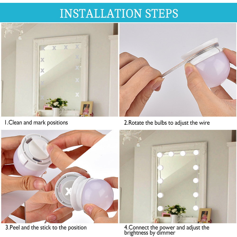 Makeup Mirror Vanity LED Light Bulb Hollywood Dimmable Mirror Light Makeup Vanity Table Set for Dressing Room Without Mirror (4)