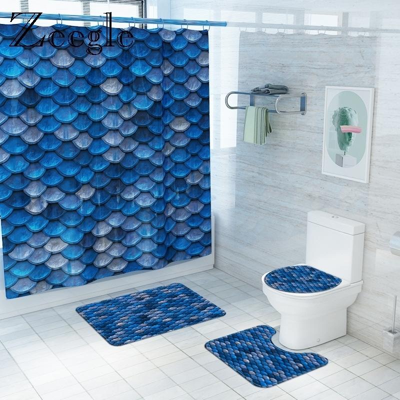 3D Digital Printed Bath Mat and Waterproof Shower Curtain Bathroom Floor Mat Flannel Toilet Pad Bathroom Bath Rug Set