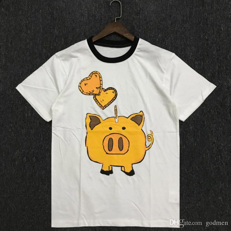 Fashion New Casual Mens Stylist T Shirt Couples Soft Cotton Short Sleeves Hip Hop Men Women Pig Print Tees Size S-2XL