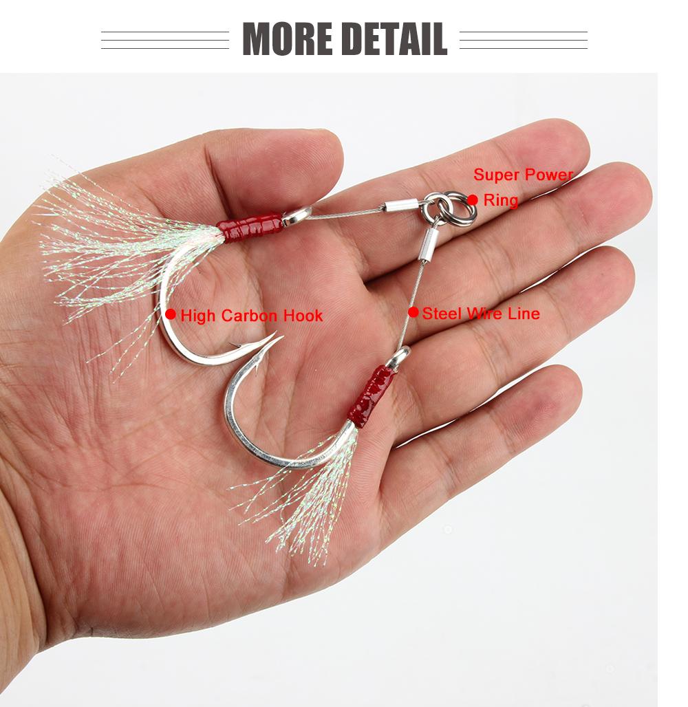 RoseWood Double Steel Wire Jigging Hook Glow Saltwater Fishhook Sea Hooks Boat Fishing Tackle 10 20 30 50 70 assist Hooks (4)