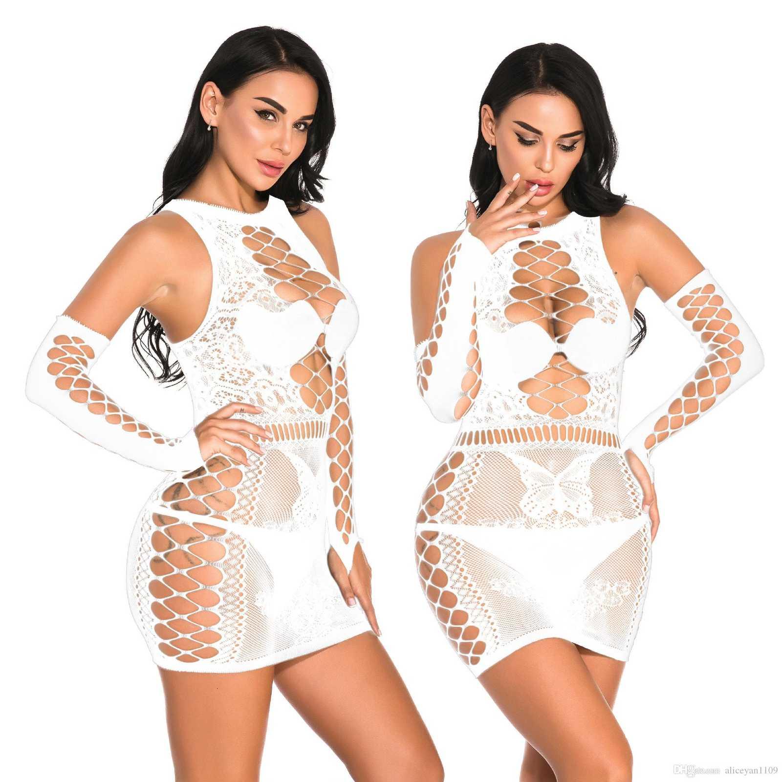 Plus Size Sexy Lingerie Erotic Babydoll Underwear Women's Black Lace Nightdress Large Size Costumes Sleepwear Dress