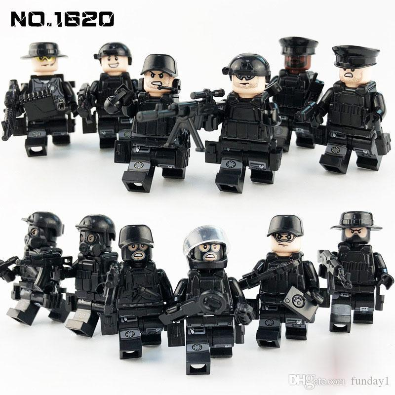 SWAT Mini Toy Action Figure Special Forces Police Policeman Military Set with Weapons Building Blocks Bricks Toy for boy kids