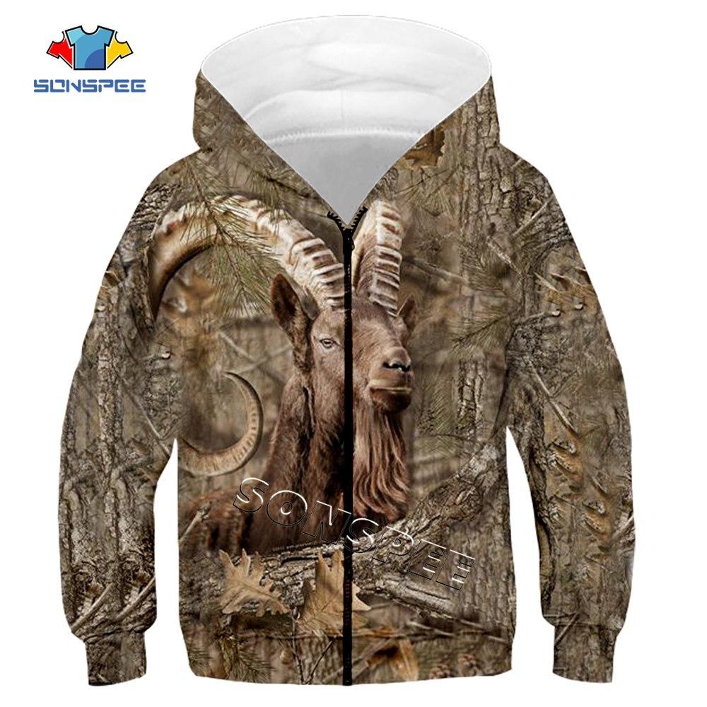 Child Zip Hoody Sweatshirt Top Camouflage Hunting Animal 3D Print Kids Fashion Zipper Hoodie Boy Baby Casual Streetwear Clothing (7)