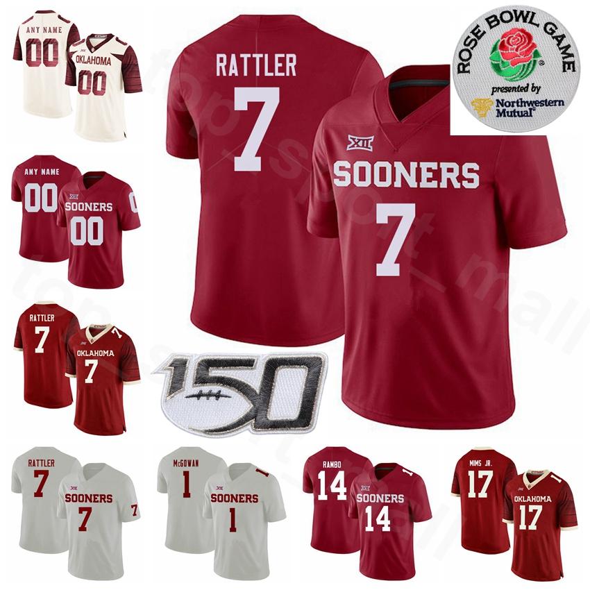 NCAA College Oklahoma Sooners Football 7 Spencer Rattler Jersey 1 Seth McGowan 5 TJ Pledger 17 Marvin Mims Charleston Rambo Men Youth Woman
