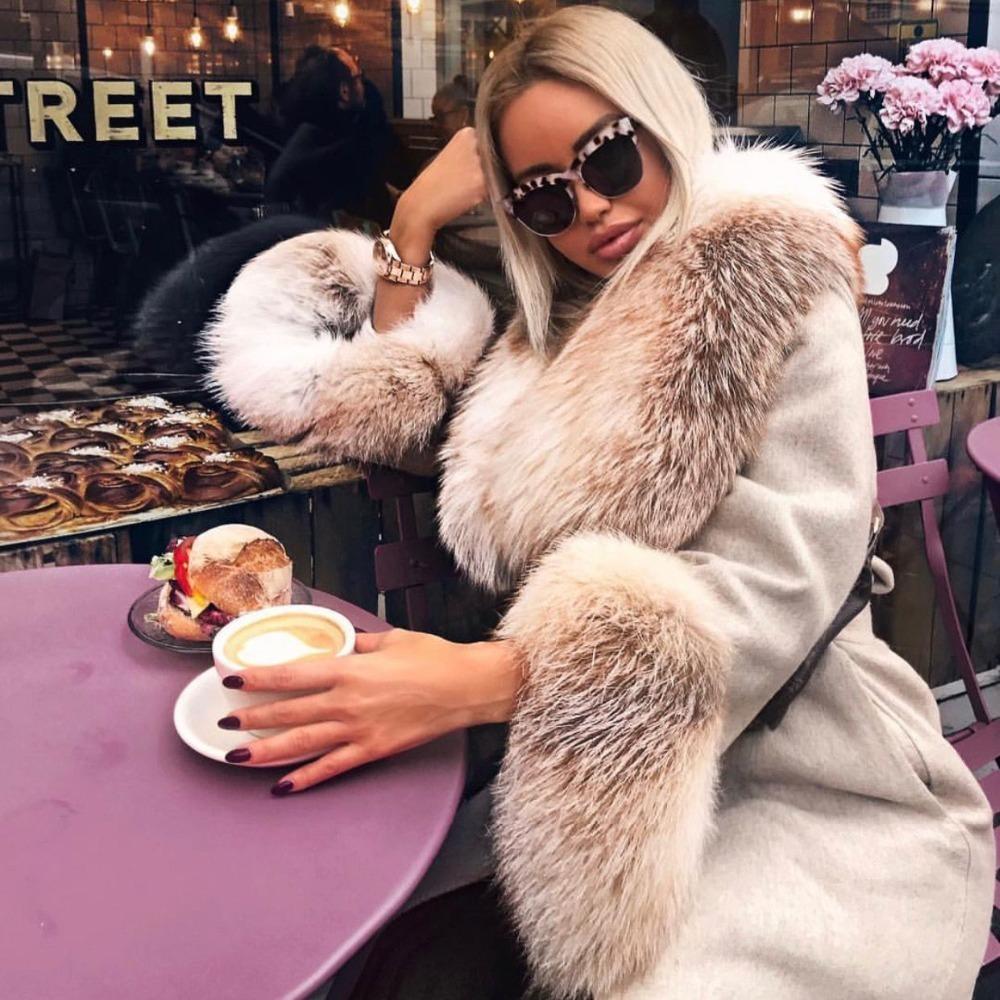 Long Alpaca Cashmere Fox Fur Collar Coat (1)