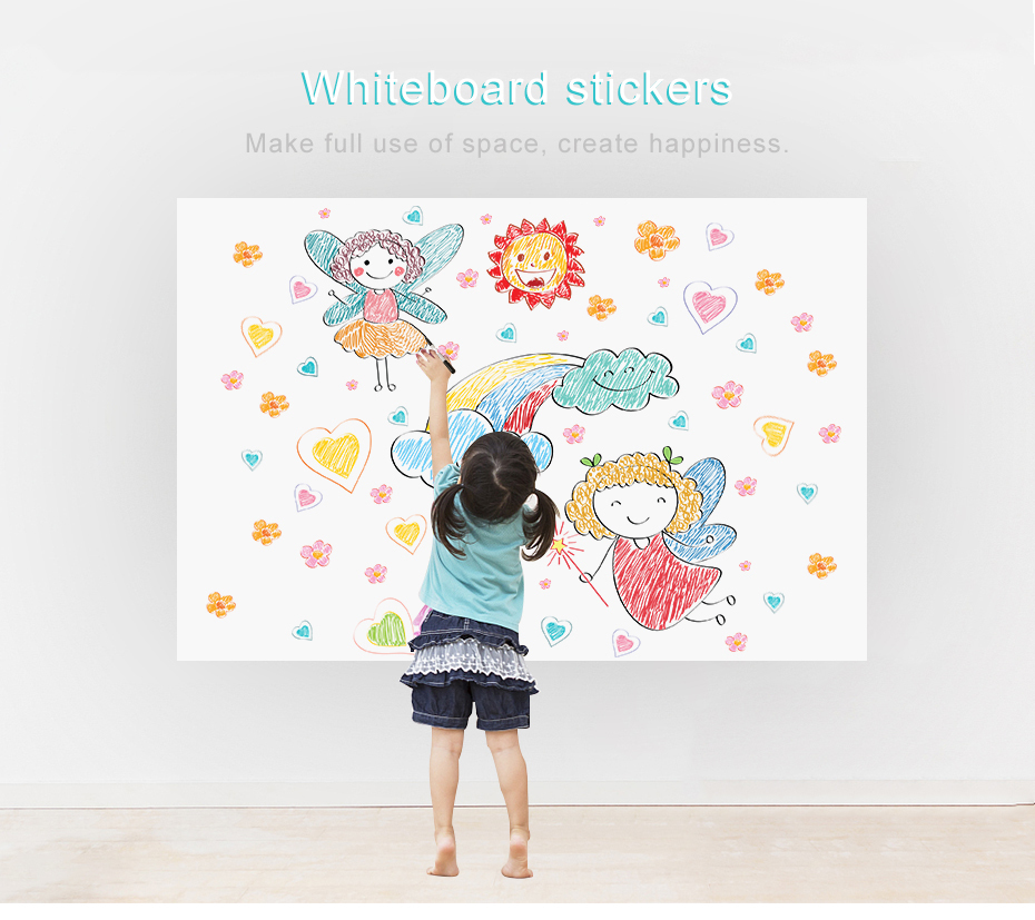 930_01 DIY Whiteboard Sticker Dry Erase Self-adhesive White Board Removable Drawing Writing Message Board For Office School Home