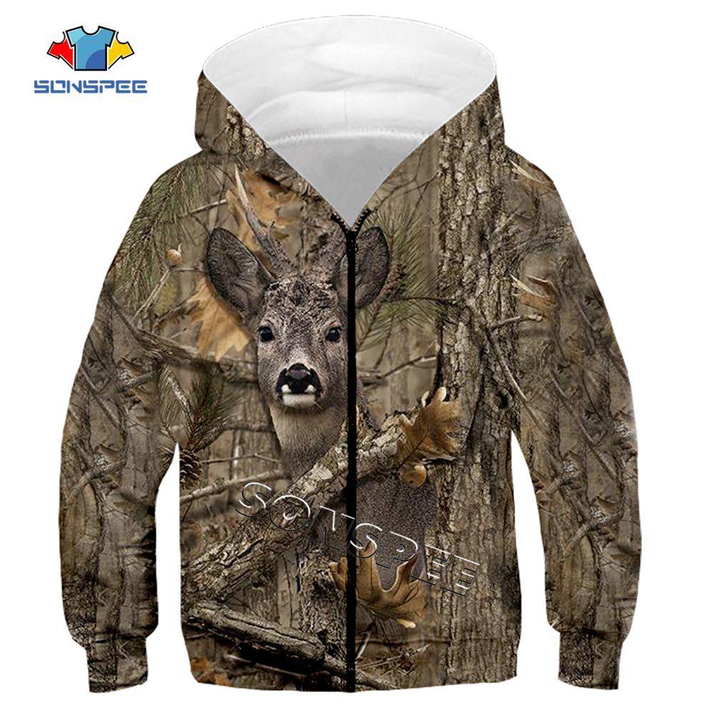 Child Zip Hoody Sweatshirt Top Camouflage Hunting Animal 3D Print Kids Fashion Zipper Hoodie Boy Baby Casual Streetwear Clothing (1)