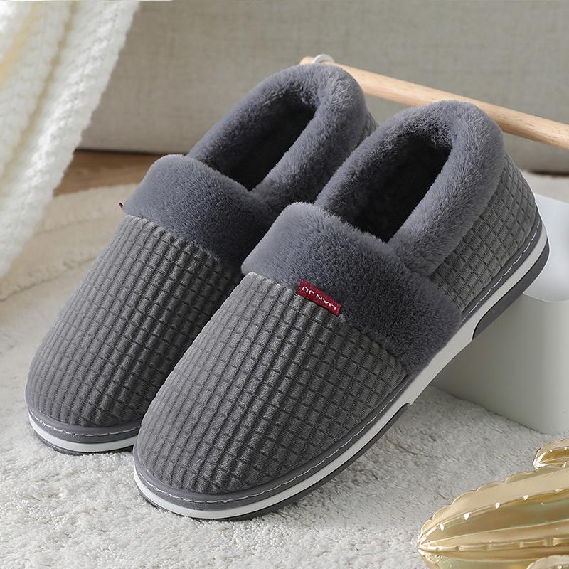 Winter men's slippers Soft short plush comfort House slippers silp on cotton platform Mens slippers outdoor 201023