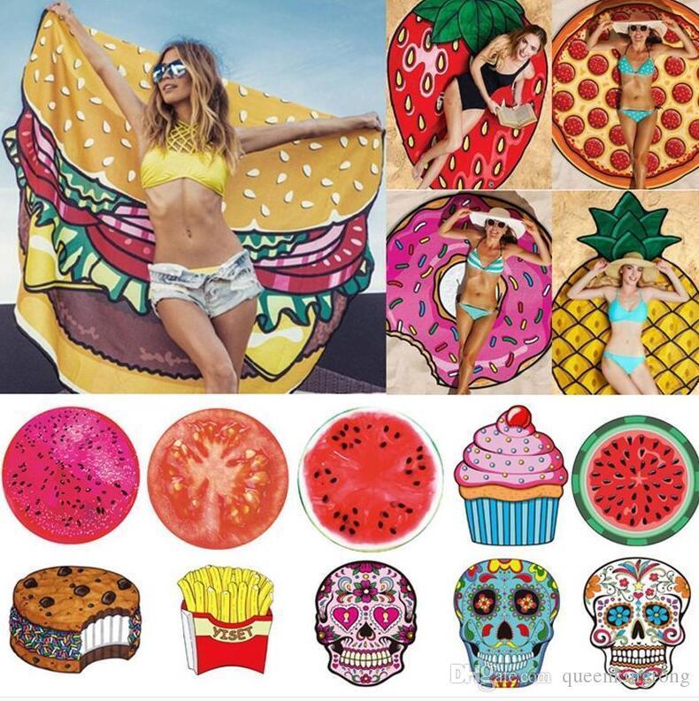 Fashion Round Towel Beach Pineapple Watermelon Donuts Mandala Beach Towel Round Tower Extra Large YOGA Mat Picnic mat 19 Style