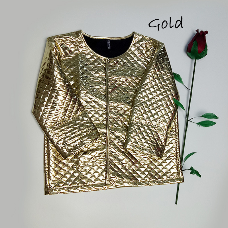 New Fashion Women J Lozenge Gold Sequins Short Jackets Three Quaters Sleeves Outwear Coats Female Casual Jackets Plus Size (3)