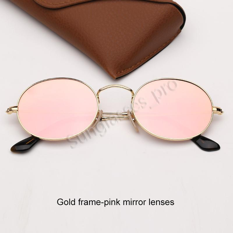 Womens round Sunglasses Fashion Sunglasses Mens Sun Glasses Oval Glasses Lenses with UV400 Protection and Leather Case