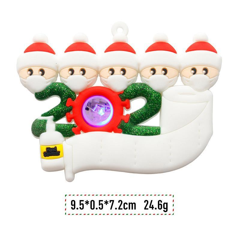 LED Christmas Quarantine Ornaments 2020 2021 Led Light Snowman DIY Family Greeting Pendant Personalized with Face Mask Party Tree Decoration