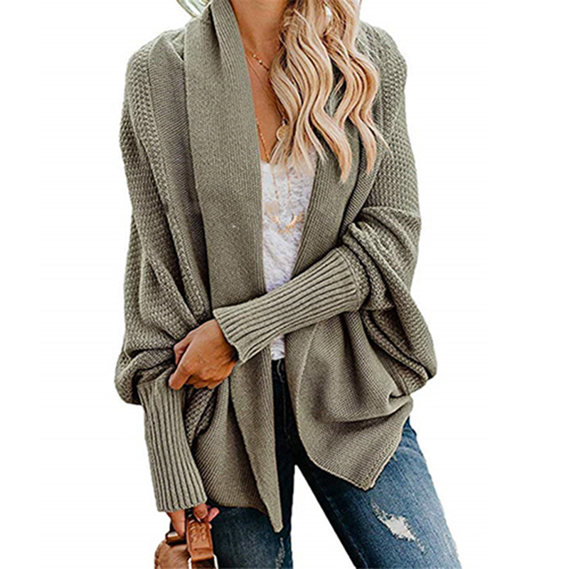 2019 winter new women sweaters casual plus size batwing sleeve kintted winter women cardigan ladies tops clothing coat (27)