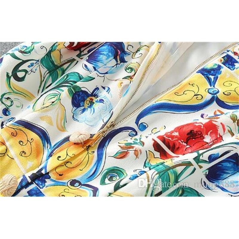 New Designer Luxury Women Dresses Slash Neck Sleeveless Female Milan Runway Dress Flore Printed Dresses Vestidos De Festa P158