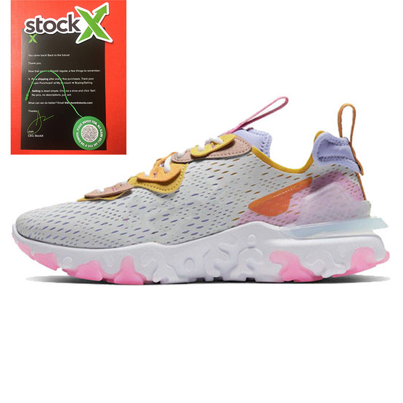 2020 STOCK X React Vision Saffron Running Shoes Women Men React Element 55 87 Undercover Sail OLT RACER PINK Sport Trainers Sneakers 36-45