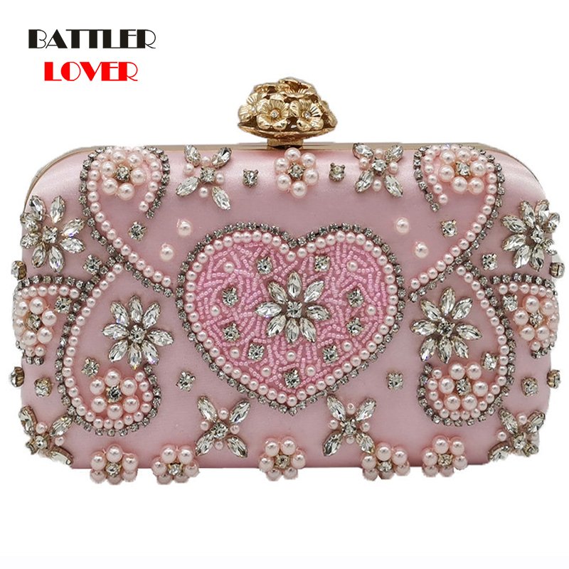 Bags for Women 2019 Vintage Pink Beaded Clutch Women Evening Bags Heart & Flower Wedding Crystal Clutches Handbags Bridal Purses