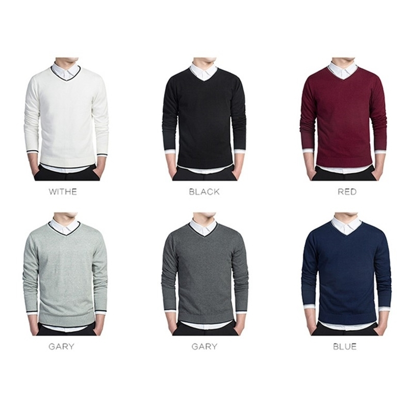 6Colors cotton sweaters men V neck mens sweaters pullover jersey MULS brand autumn winter 4XL knitwear dress male MS8891