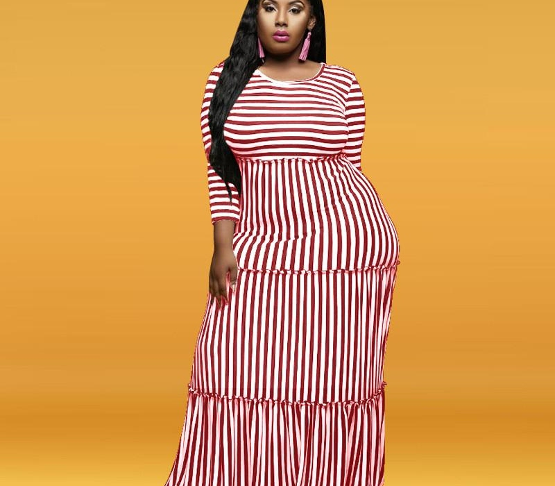 Clothing Stripe Panelled Women Casual Dresses Designer Plus Size Womens Maxi Dresses Fashion Long Sleeve Females