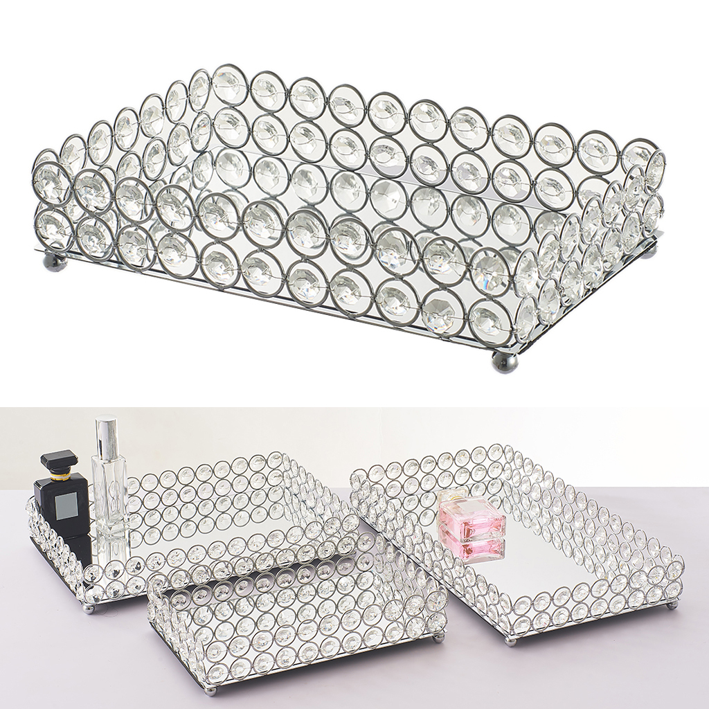 Mirrored Crystal Vanity Tray Decorative for Perfum, Jewelry Makeup
